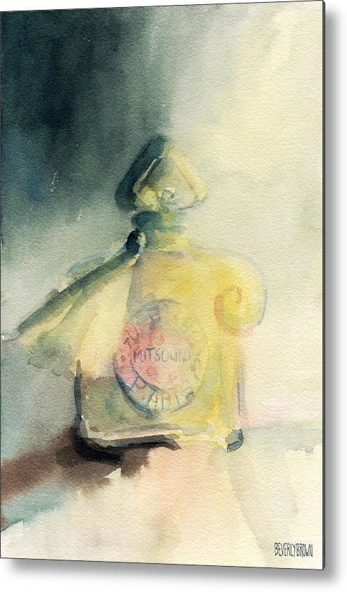 Fashion Metal Print featuring the painting Vintage Guerlain Mitsouko Perfume Bottle by Beverly Brown Prints