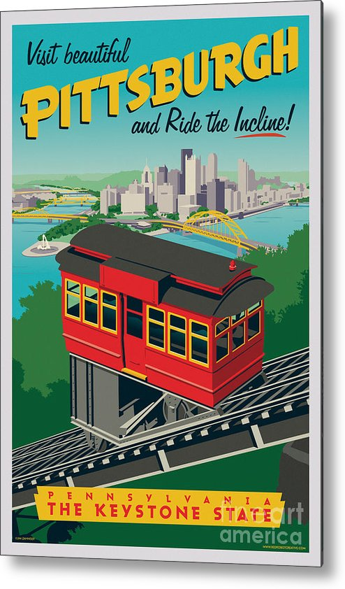 Pittsburgh Metal Print featuring the digital art Pittsburgh Poster - Incline by Jim Zahniser