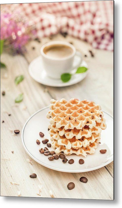 Breakfast Metal Print featuring the photograph Waffles With Coffee by Da-kuk