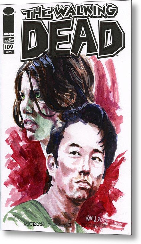 Walking Dead Metal Print featuring the painting Walking Dead Glenn and Maggie by Ken Meyer jr