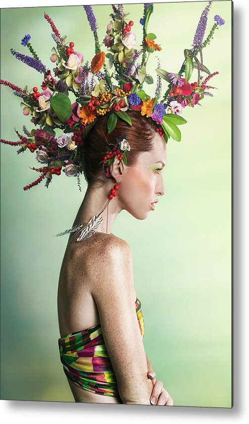 Art Metal Print featuring the photograph Woman Wearing A Colorful Floral Mohawk by Paper Boat Creative