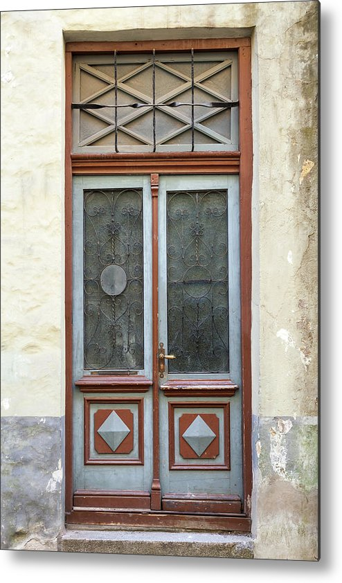 Rectangle Metal Print featuring the photograph Wooden Door With Glass And Decoration by Eugenesergeev