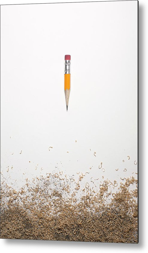 White Background Metal Print featuring the photograph Worn Down Pencil With Shaving by Chris Parsons
