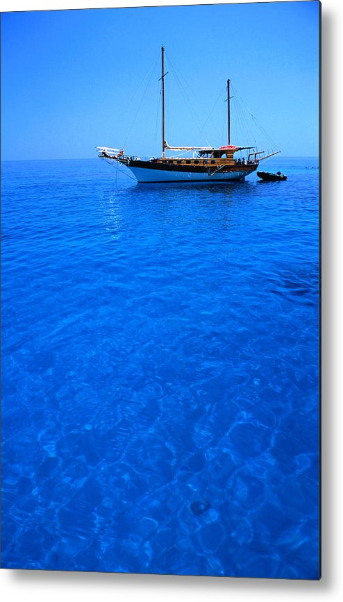 Freight Transportation Metal Print featuring the photograph Yacht Anchored In The Spectacular by Dallas Stribley