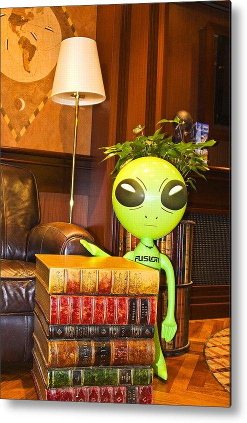 Alien Metal Print featuring the photograph Bookworm Alien by Richard Henne