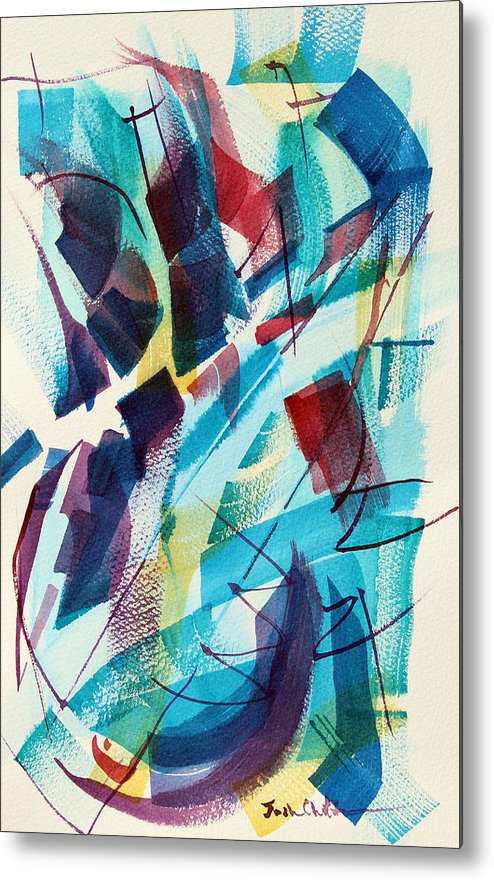Watercolor Abstract Metal Print featuring the painting Slice. by Josh Chilton