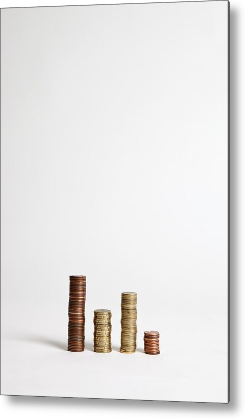 Vertical Metal Print featuring the photograph Stacks Of Various European Union Coins by Halfdark