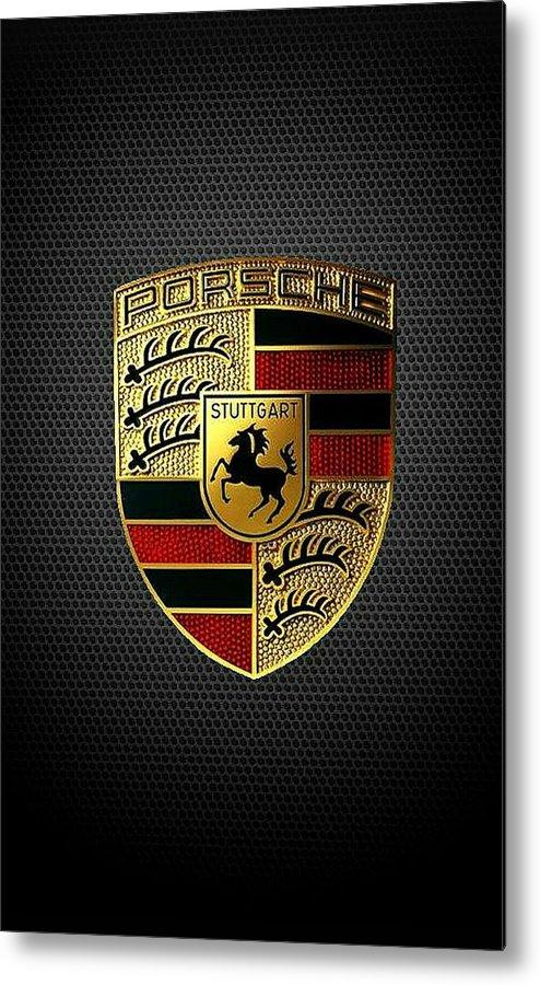 Porsche Logo Metal Print featuring the digital art Porsche Logo by Max Dedrick