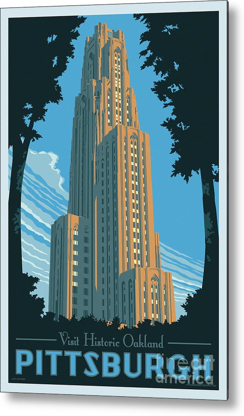 Pittsburgh Metal Print featuring the digital art Pittsburgh Poster - Vintage Style by Jim Zahniser