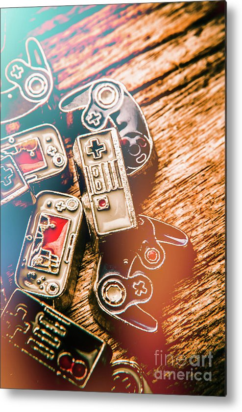 Gaming Metal Print featuring the photograph Antique Gaming Consoles by Jorgo Photography - Wall Art Gallery
