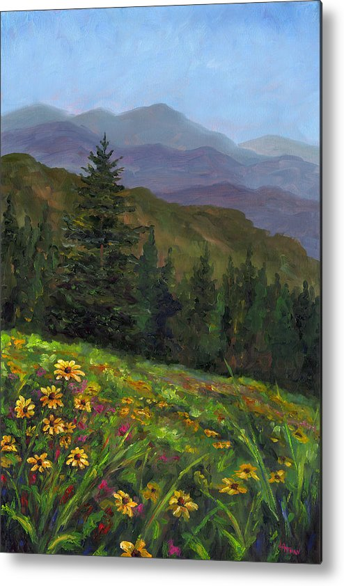Wildflowers On The Mountain Hillside Of Blue Ridge Mountains Of Western North Carolina Near Ashevill Metal Print featuring the painting Appalachian Color by Jeff Pittman