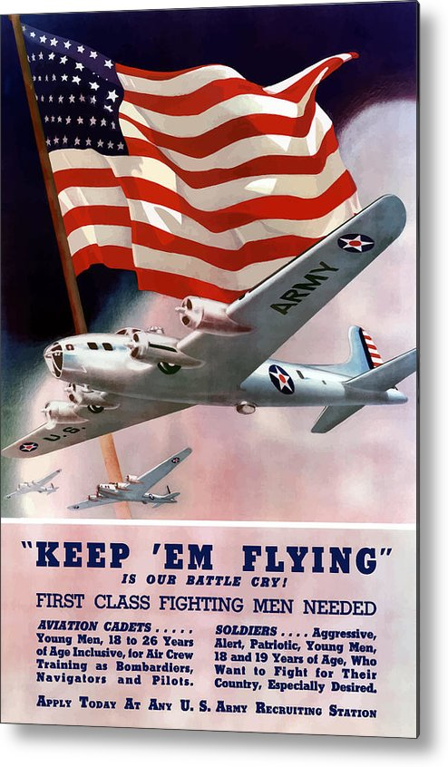 Army Metal Print featuring the painting Army Air Corps Recruiting Poster by War Is Hell Store