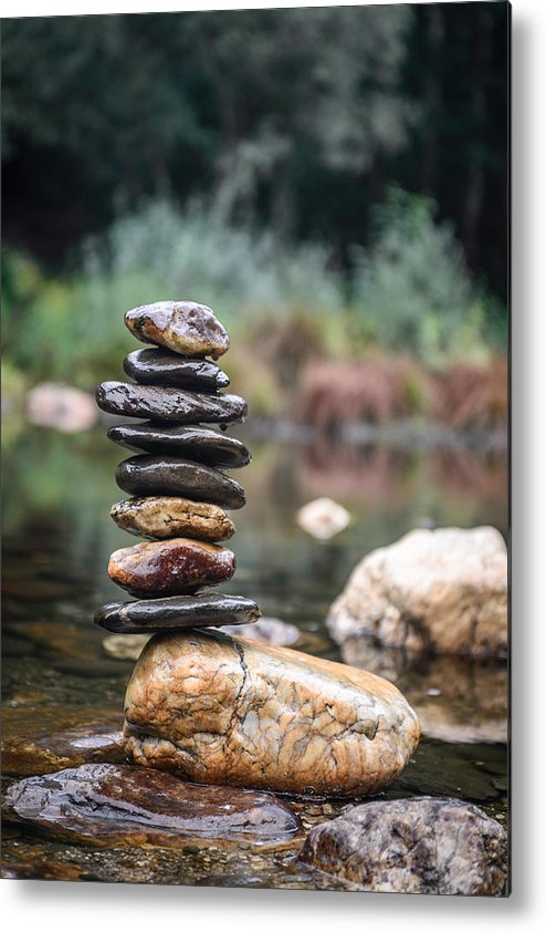 Balancing Zen Stones In Countryside River I Metal Print By Marco