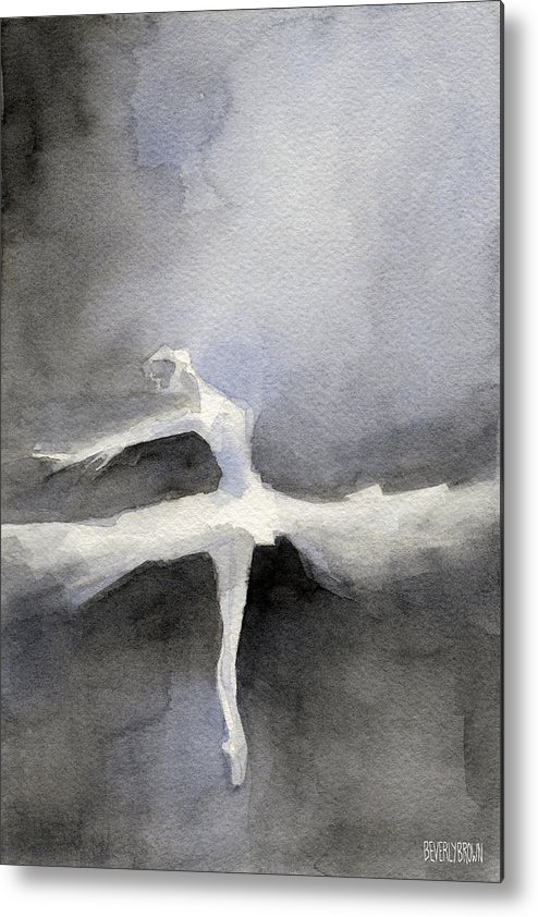 Ballet Metal Print featuring the painting Ballet Dancer in White Tutu Watercolor Paintings of Dance by Beverly Brown Prints