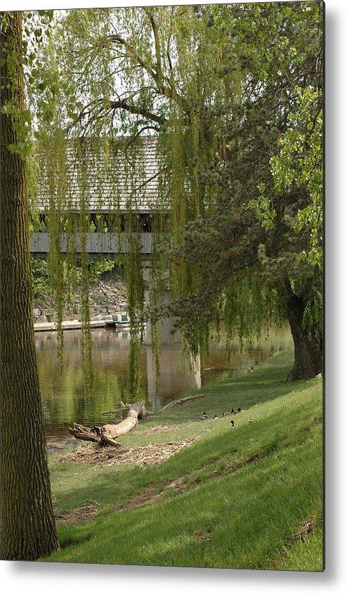 Usa Metal Print featuring the photograph Bavarian Covered Bridge Over The Cass River Frankenmuthmichigan by LeeAnn McLaneGoetz McLaneGoetzStudioLLCcom