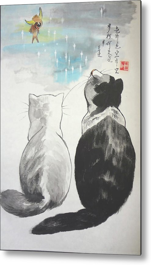 Animals Metal Print featuring the painting Black And White Cat Fantasy by Lian Zhen
