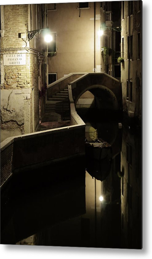 Venice Metal Print featuring the photograph Bridge And Canal In Venice At Night by Michael Henderson