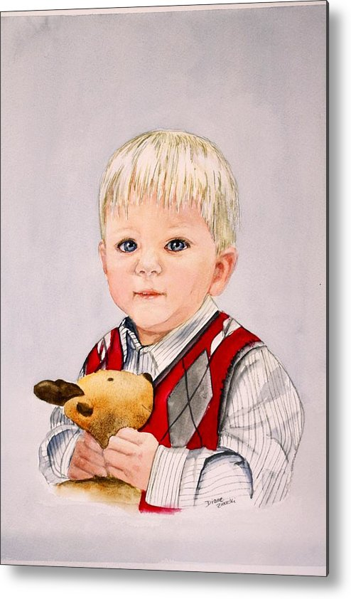 Portrait Metal Print featuring the painting Calvin by Diane Ziemski