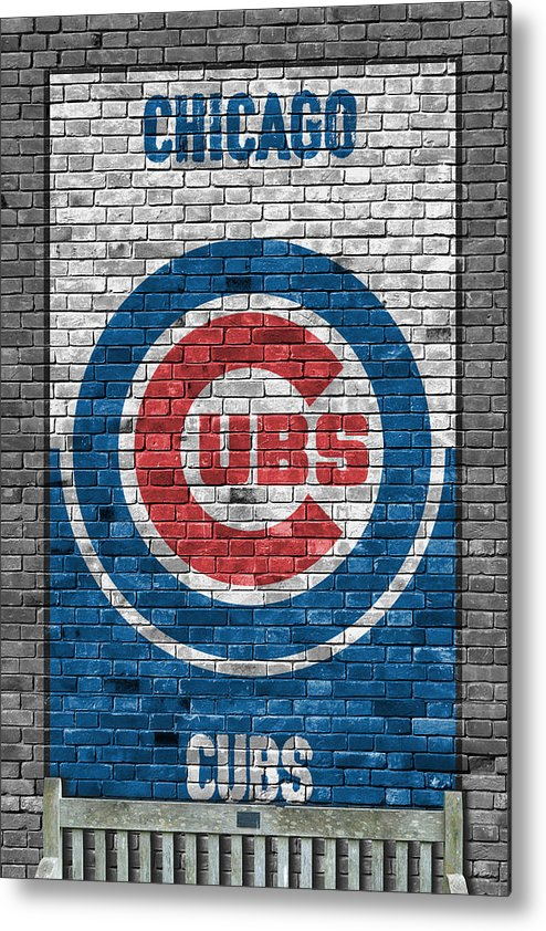 Cubs Metal Print featuring the painting Chicago Cubs Brick Wall by Joe Hamilton