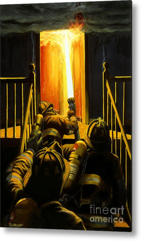 Firefighting Metal Print featuring the painting Devil's Stairway by Paul Walsh