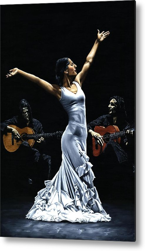 Flamenco Metal Print featuring the painting Finale del Funcionamiento del Flamenco by Richard Young