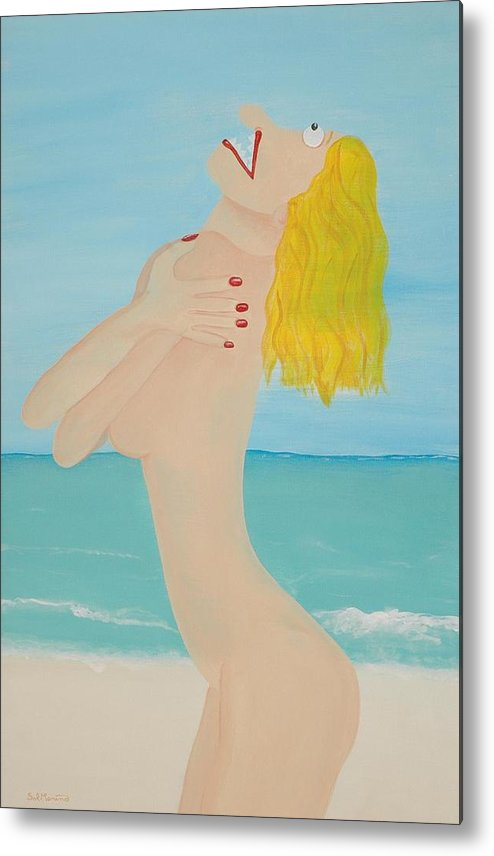 Funism Metal Print featuring the painting Girl On Beach by Sal Marino