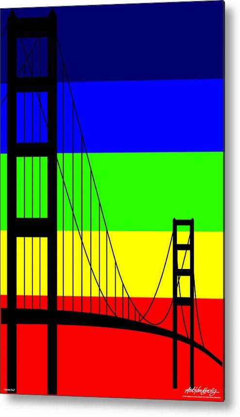 Golden Gate Metal Print featuring the digital art Golden Gay by Asbjorn Lonvig