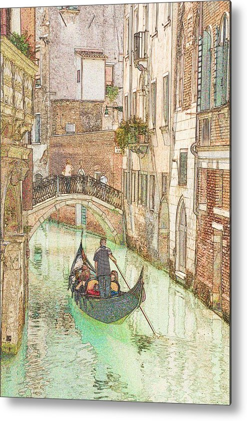 Venice Metal Print featuring the photograph Gondola On Canal In Venice by Michael Henderson