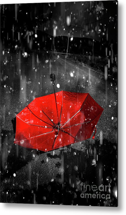 Red Metal Print featuring the digital art Gone With The Rain by Jorgo Photography - Wall Art Gallery