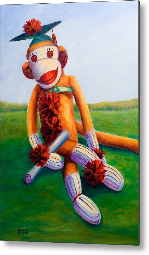 Graduation Metal Print featuring the painting Graduate Made Of Sockies by Shannon Grissom