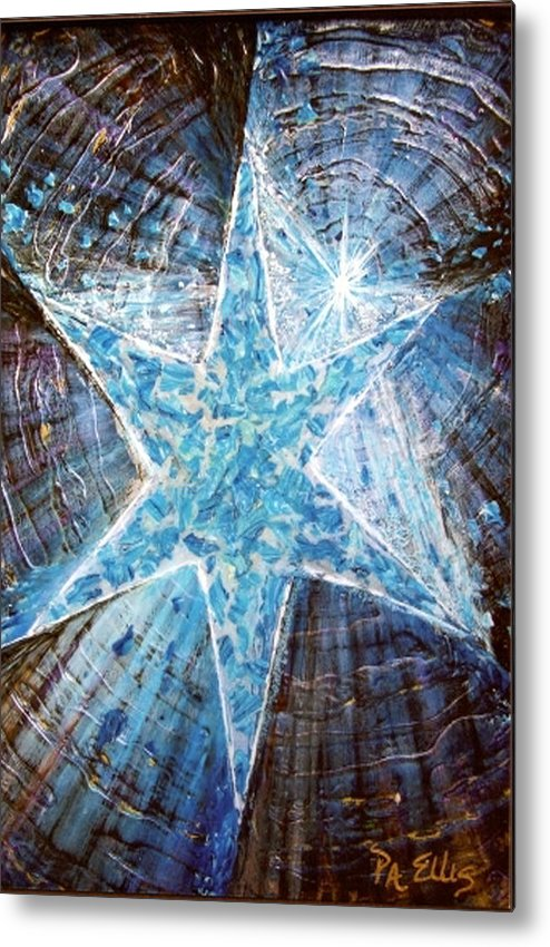 Heavy Texture Mosaic Six Point Star Multi Level Blue Metal Print featuring the painting Guiding Light by Pam Ellis
