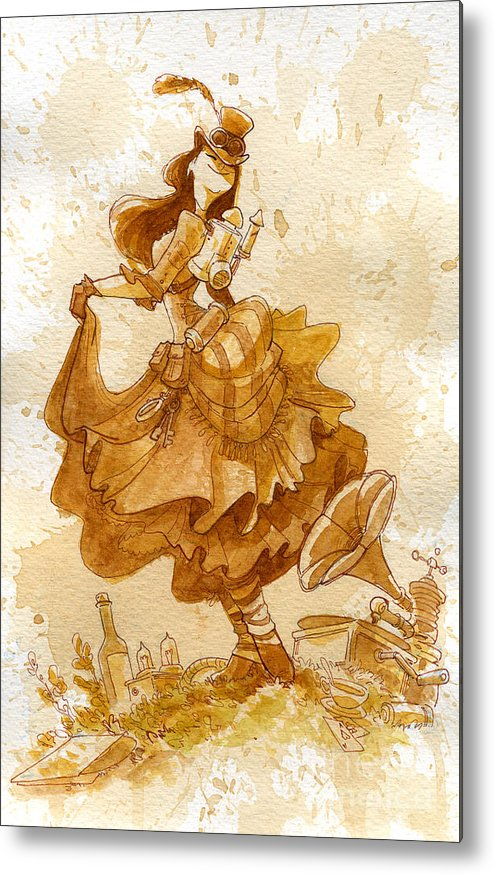 Steampunk Metal Print featuring the painting Happiness by Brian Kesinger