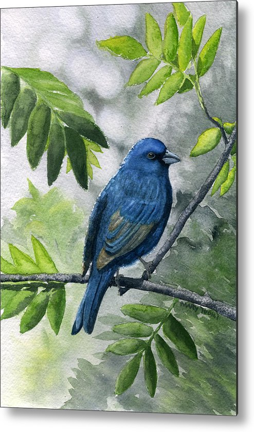Blue Metal Print featuring the painting Indigo Bunting by Mary Tuomi