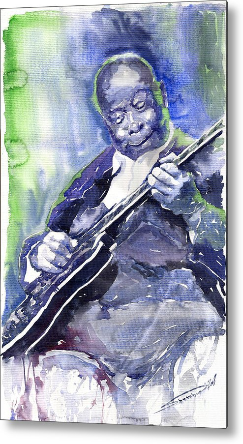 Jazz Metal Print featuring the painting Jazz B B King 02 by Yuriy Shevchuk