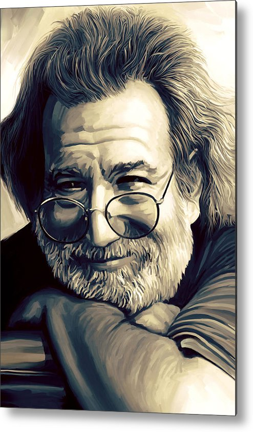 Jerry Garcia Paintings Metal Print featuring the painting Jerry Garcia Artwork by Sheraz A