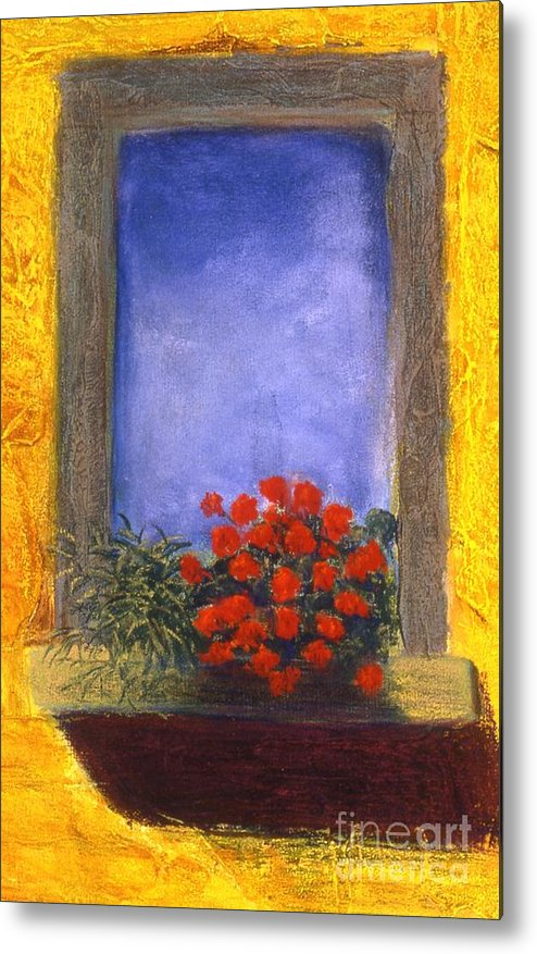 Colorful Metal Print featuring the painting La Finstra con i Fiori by Mary Erbert