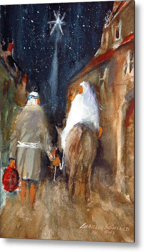 Liberty. Christmas Metal Print featuring the painting Liberty - Arriving in Bethlehem by Charles Rowland