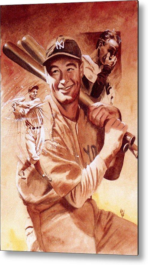 Baseball Metal Print featuring the painting Lou Gehrig by Ken Meyer jr