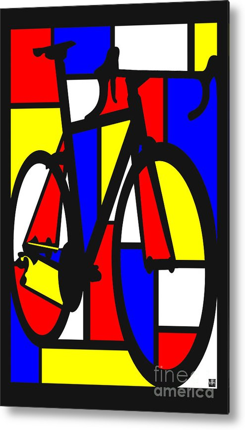 Bicycle Metal Print featuring the painting Mondrianesque Road bike by Sassan Filsoof