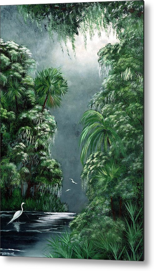 Swamp Metal Print featuring the painting Moonlight Swamp by Darlene Green