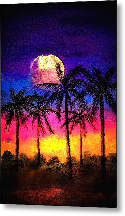 Silhouette Metal Print featuring the painting Moonrise Over the Tropics by Dina Sierra