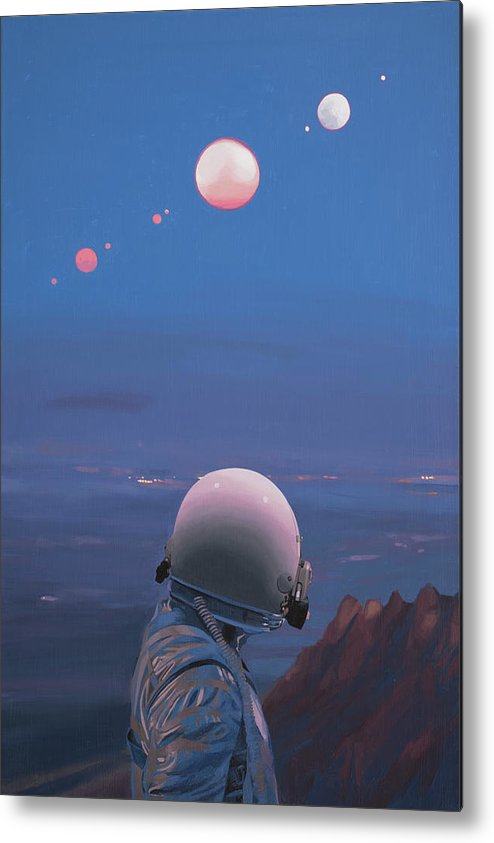 Astronaut Metal Print featuring the painting Moons by Scott Listfield