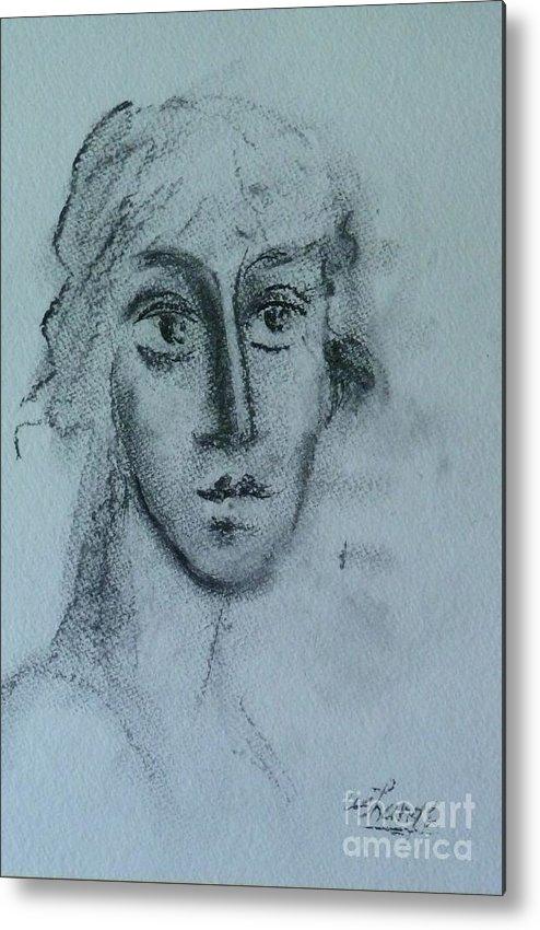 Woman Metal Print featuring the drawing Perceptive by Ushangi Kumelashvili