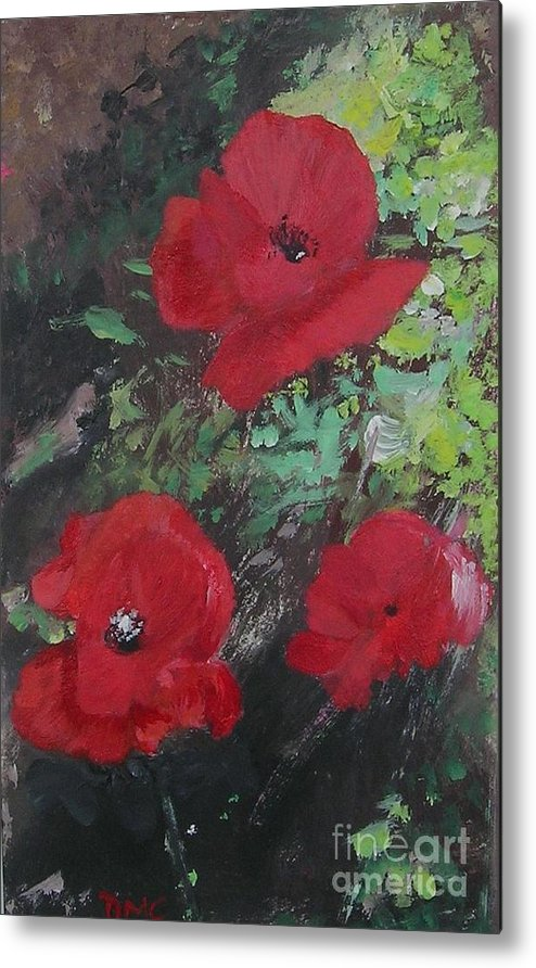 Red Metal Print featuring the painting Poppies by Lizzy Forrester