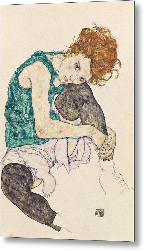 Egon Schiele Metal Print featuring the painting Seated Woman with Bent Knee by Egon Schiele