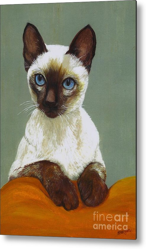 Siamese Metal Print featuring the painting Siamese Cat by Morgan Fitzsimons
