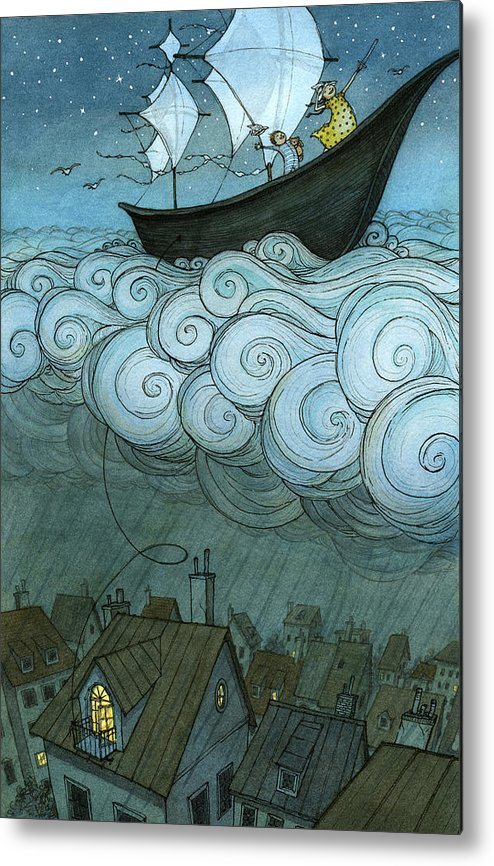 Metal Print featuring the drawing Sky Sailing by Eliza Wheeler