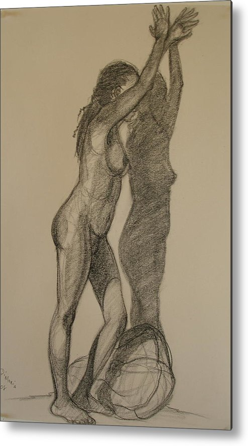 Realism Metal Print featuring the drawing Standing Nude 1 by Donelli DiMaria