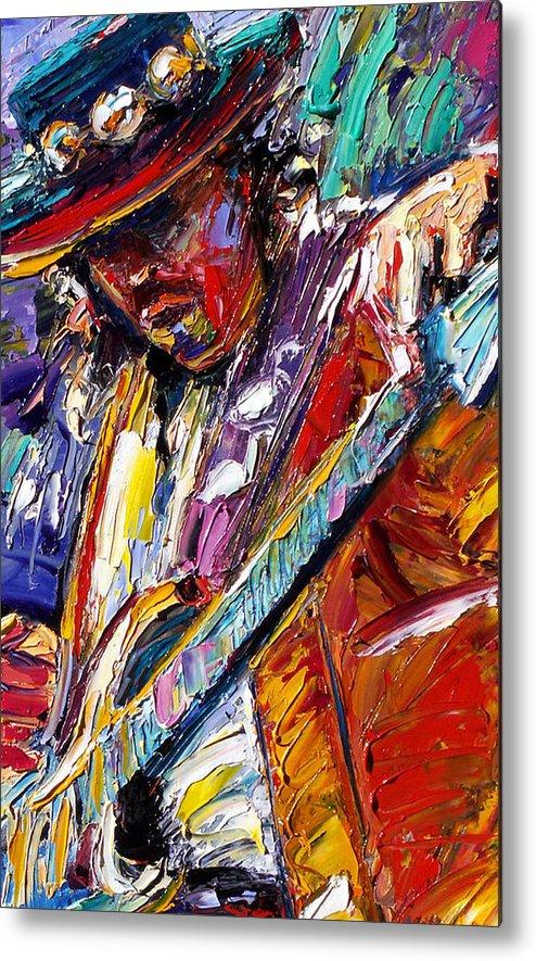 Rock Metal Print featuring the painting Stevie Ray Vaughan number one by Debra Hurd