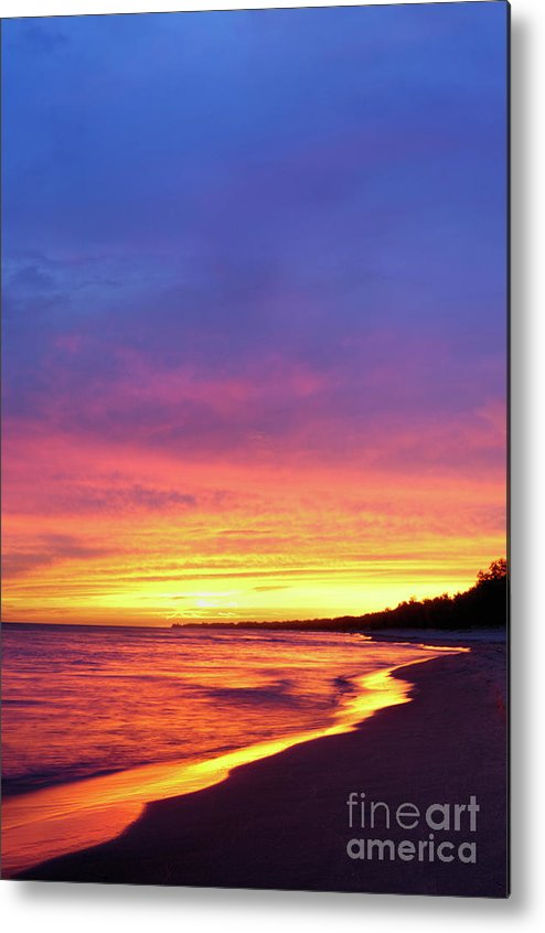 Beach Metal Print featuring the photograph Sunset Over Beach by Maxim Images Prints